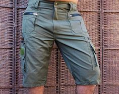 Men Short Pants Hipster, Tribal, Steampunk, Adventure Wear, Burning Man, Suit, Pocket Pants, Brass hard wear,