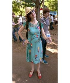 Kristen Schaal looking adorable in the Lupe dress in Turquoise Birds.