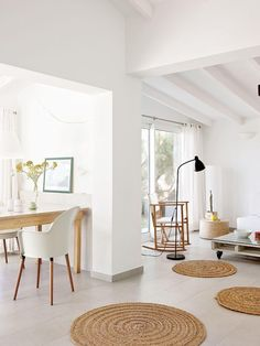 Summer home in Menorca, country style, mediterranean home Decor, Pallet Decor, Holiday Home, Home, White Beams Ceiling, House Styles, House Interior, Mediterranean Homes, White Beams