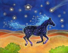 This painting reminds me of a recurring dream that began when I was 7 or 8 years old and continued every night for years.  Too long to tell here but this dream, and the spirit horse who carried it, saved me from the pain and hatred of abuse.
