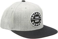 cf925e84 Brixton Men's Oath III Snap-Back Hat Custom Embroidered Patches, Brixton,  Heather Grey