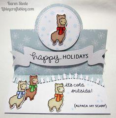 Winter Alpaca – Lawn Fawn | happy holidays pop up card |  KAREN STEELE