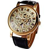 Mix&Rock Classic Roman Golden Skeleton Mechanical Geniune Leather Business Mens Watch by MIX&ROCK -- Awesome products selected by Anna Churchill Rock Watch, Shops, Skeleton Watches, Roman Numerals, Luxury Watches For Men, Beautiful Watches, Mechanical Watch, Steampunk, Leather