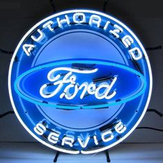 Ford Authorized Service Neon Sign is very bright! Neon Signs feature multi-colored, hand blown neon tubing. The glass tubes are backed by a beautiful silkscreened full-color image, and the entire sign