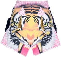Pink cotton skirt from Bernhard Willhelm featuring a angular tiger printed panels to the front.