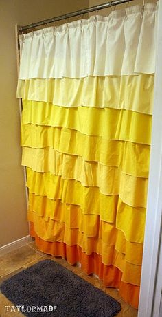 DIY Anthropologie Flamenco Shower Curtain Tutorial from It's Taylor Made - I love this! Curtain Tutorial, Ruffle Shower Curtains, Diy Curtains, Decoration Chic, Diy Shower, Mellow Yellow, My New Room, Home Projects, Cool Ideas