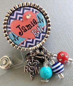 Personalized ID Badge Reel Silver Pendant - cardiac nurse RN, CHEVRON, heart rhythm, medical symbol, telemetry unit on Etsy, $19.00