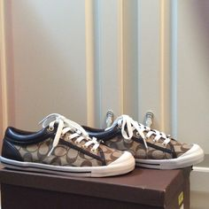 Brown/Khaki/White & Leather Sneakers by Coach NWT NWT, size 9 coach brown, white, and leather monogram signature Coach Shoes Sneakers