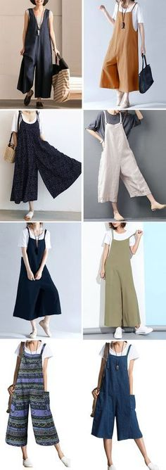Casual Women Loose Solid Strap Pocket Overall Jumpsuits - - Casual Women Loose Solid Strap Pocket Overall Jumpsuits ropa de lino Casual Women Loose Solid Strap Pocket Overall Jumpsuits Sewing Clothes Women, Diy Clothes, Clothes For Women, Woman Clothing, Diy Fashion, Indian Fashion, Fashion Outfits, Fashion Ideas, Overalls Women