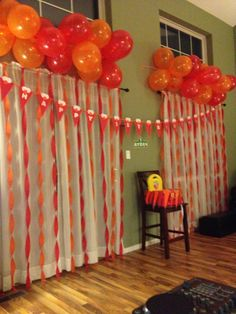 Elmo birthday party balloons first birthday party high chair DIY decorations highchair