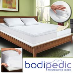 $135 Overstock - Bodipedic 3-inch Memory Foam Mattress Topper and Cover Set - No more counting sheep with this three-inch memory foam mattress topper cover on your bed, since it will help you to fall asleep and stay asleep. This topper is made from space-age material that conforms to your body for a better night's sleep.  http://www.overstock.com/Bedding-Bath/Bodipedic-3-inch-Memory-Foam-Mattress-Topper-and-Cover-Set/4107143/product.html?CID=214117 $139.99