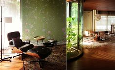 Modern chinoiserie 'Qing Dinasty Garden' by Misha wallpaper: Designer Martinelli featured hand painted wallpaper Qing Dinasty Garden on Green Emerald silk in the bedroom of a client's home in Treviso, Italy.