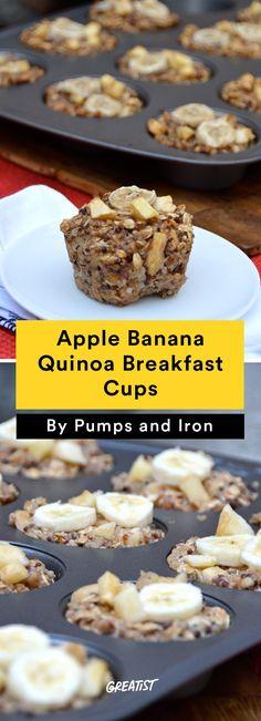 8. Apple Banana Quinoa Breakfast Cups #healthy #breakfast #recipes…