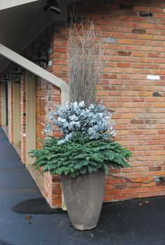 So simple container - Whitewashed eucalyptus is that pale blue color that looks like snow.  The birch twigs have been sprayed with a metallic platinum paint.  By winter's end, they will be a pale grey.  The colors are soft, but wintry -