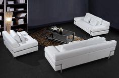 Divani Casa Clef Modern Leather Sofa Set Stylish Design Furniture Couch Decorating