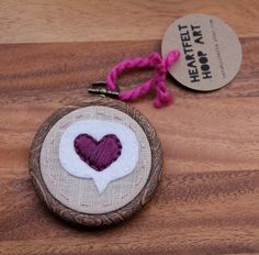 Mini Embroidery Hoop Art. Heart in Thought Bubble. Wall Hanging or Ornament by Catshy Crafts. $25.00, via Etsy.