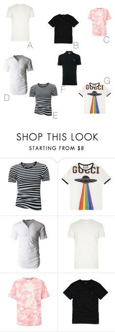 """Camisetas masculino"" by lolamarcon on Polyvore featuring Gucci, LE3NO, River Island, Topman, Ralph Lauren, Lacoste, men's fashion e menswear"