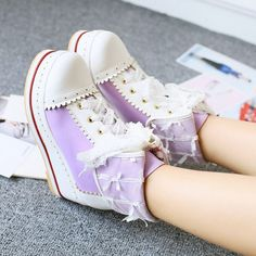 Vogue Womes Lace up Ankle Boots Wedge heel Platform Lolita School Leisure Shoes@ Sock Shoes, Cute Shoes, Me Too Shoes, Pretty Shoes, Kawaii Shoes, Kawaii Clothes, Lace Up Ankle Boots, Wedge Boots, Mode Lolita