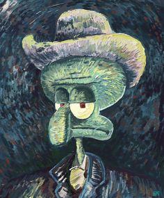 Squidward looks quite dashing in this art portrait. Wallpaper Animes, Funny Phone Wallpaper, Squidward Art, Spongebob Painting, Squidward Tentacles, Arte Van Gogh, Cute Cartoon Wallpapers, Funny Art, Aesthetic Art