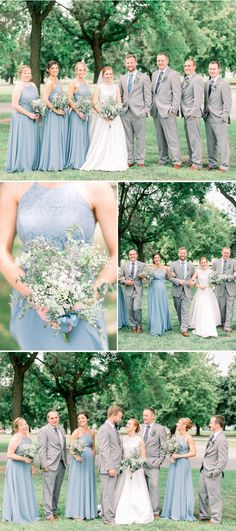 bridal party pose ideas | groomsmen with grey suits and bridesmaids with light blue dresses | Light blue and grey church wedding ideas | wedding reception at Hampton Heritage Center in Illinois | Gigi Boucher Photography | Iowa photographer | Quad Cities wedding photographer Light Grey Suits Wedding, Blue Grey Weddings, Grey Wedding Theme, Gray Wedding Colors, Gray Tuxedo Wedding, Light Blue Bridesmaid Dresses, Blue Wedding Dresses, Blue Bridesmaids, Blue Dresses