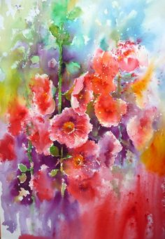 Brusho Hollyhocks by Joanne Boon Thomas. To find out more about Brusho visit… Watercolor Pictures, Watercolor Artwork, Watercolor Artists, Watercolor Flowers, Art Floral, Floral Artwork, Hollyhocks Flowers, Art Tutor, Brusho