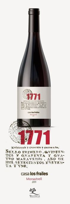 Diseño gráfico de la etiqueta para el último vino presentado por Casa los Frailes, Casa los Frailes 1771, que es el año en el que la familia Velázquez adquirió la bodega. Para su realización se han usado los gráficos y sellos originales de las escrituras de compra del año 1771. http://www.g2disseny.com/etiqueta-1771-para-casa-los-frailes/