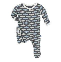 Dino Tracks Kickee Pants Little Boys Print Long Sleeve Raglan Romper 18-24 Months