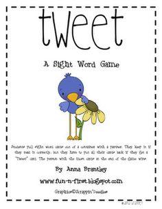 free printable sight word game called Tweet! played just like Bang!