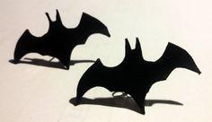 halloween batman handmade leather earrings gift for her door milafontaine op Etsy