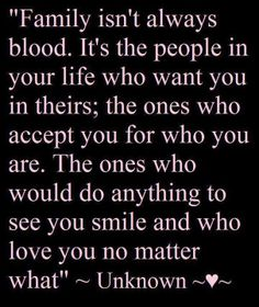 "Being adopted, I don't know my biological ""blood"" relatives, but I do know I am blessed with GREAT people in my life that have become my ""FAMILY""."