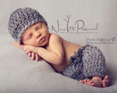 """This pattern is for a cute little set featuring a crochet beanie hat and baby pants. They are both very gender neutral and suitable for boys or girls. An easy project to whip up for a shower gift, or """"new baby hospital visit"""" gift. Also makes a fabulous photo prop! Size: Newborn only. Instant Download Pattern--PDF 316"""