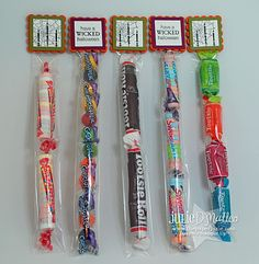 "The Candy Favor Treat Bags (tube bags are 1"" x 8"" long)"