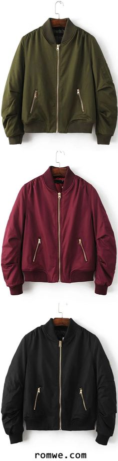 Ribbed Trim Bomber Quilted Jacket