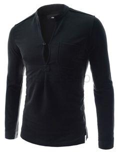 (DK51-BLACK) Mens Slim Stretchy Henley Neck Chest Pocket Long Sleeve Cotton Tshirts