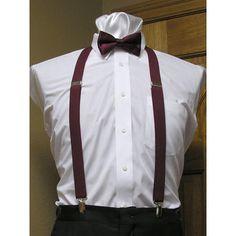 "Tuxedo Park Burgundy Matching Bow Tie and Suspender set 1"" Men's X Back Clip"