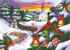 Winter in the Country 300 Large Piece Jigsaw Puzzle Christmas Scenes, Christmas Pictures, Christmas Art, Happy Face Images, Snow Pictures, Woodland Creatures, Puzzle Art, Colorful Backgrounds, Jigsaw Puzzles