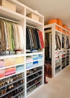 Need more closet space? Consider making sure your new home or remodel includes a walk in closet. A walk-in closet can hold all your clothing and shoes neat and tidy within a large room to walk around. Master Closet Design, Walk In Closet Design, Master Bedroom Closet, Closet Designs, Wardrobe Design, Custom Closet Design, Custom Closets, Diy Bedroom, Closet Renovation