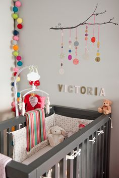 Perfect personal room decoration for you baby! ♥♥ Perfect personal room decoration for you baby! Baby Bedroom, Baby Room Decor, Kids Bedroom, Nursery Decor, Nursery Ideas, Grey Wall Color, Wall Colors, Cotton Ball Lights, Grey Crib