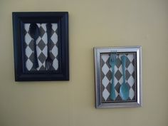 """plastic flatware painted with nail polish or spray paint, scrapbook-paper backing and framed (kitchen """"art"""")"""
