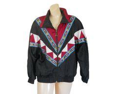 Vintage 90s Women Southwestern Aztec Windbreaker Jacket by #ShineBrightVintage