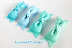 4 Blue hair bows Toddler hair accessories 3 by LayersandFrills, $11.99