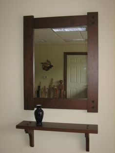 Easy to make shelf like this Mission Style Hall Mirror & Shelf in by ClassicWoodworksofMI, $299.00
