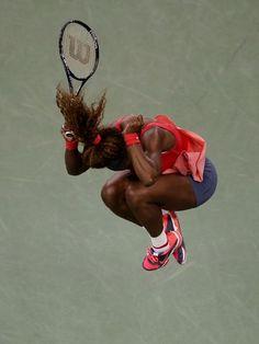 Serena Williams celebrates after defeating Victoria Azarenka in the women's singles final.