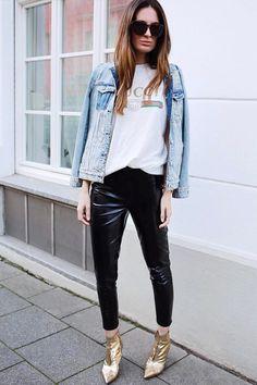 Calça couro preta Camiseta Jaqueta jeans Sapato metalizado