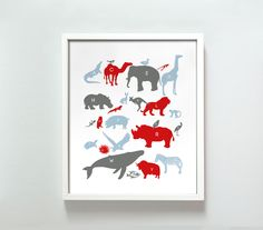 11x14 Alphabet Animals in red and blue. $22.00, via Etsy.