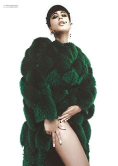 "trillista: "" This green fur coat with the veil #Trillista Natalia Kills in Pulp Magazine December 2013 www.trillista.tumblr.com """