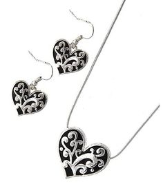 Adorn by Lulu- Black and Silver Filigree Heart Necklace