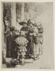 Rembrandt van Rijn – Beggars at the Door of a House, 1648, Etching | Harvard Art Museums