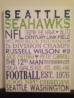 Subway Art Seattle Seahawks Nfl Football Rustic Looking Canvas Home