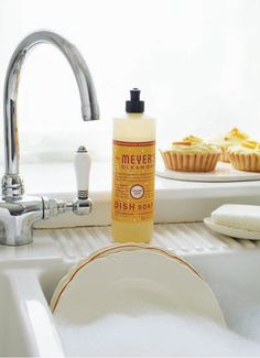 An easy trick of the kitchen cleaning trade: clean as you cook. Wipe up a spill right when it happens and make sure to soak pots and pans in warm water with a little Orange Clove Dish Soap—they'll be clean before you even cleaned them.